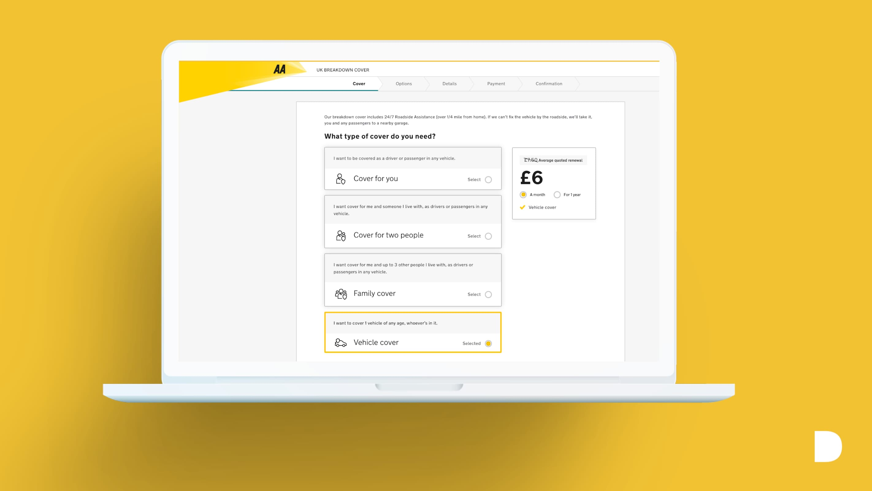 Migrating online insurance user journeys to new digital platforms for The AA